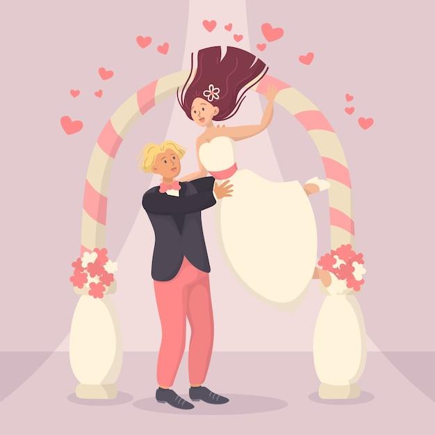 Illustrazione con la sposa e lo sposo sposarsi Vettore gratuito