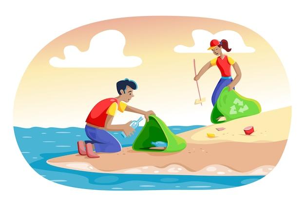 Illustrazione con persone che puliscono il tema della spiaggia Vettore gratuito