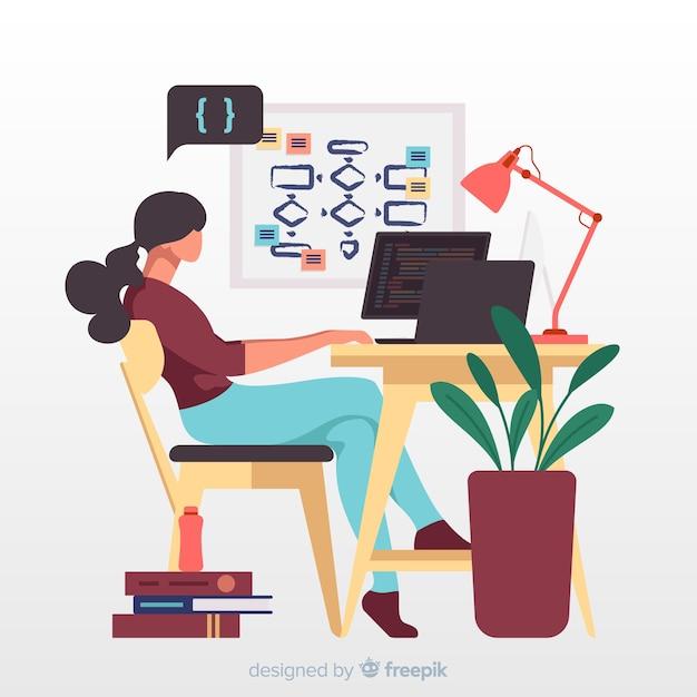 Illustrazione con programmatore funzionante Vettore gratuito
