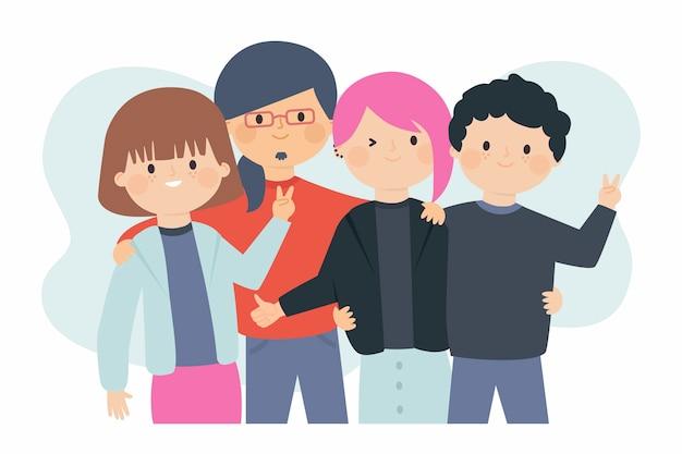 Illustrazione con tema giovani Vettore gratuito