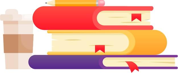 Illustrazione con tre libri di diversi colori. colpi di caffè e polaroid. Vettore gratuito