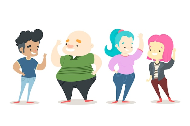 Illustrazione con un gruppo di persone agitando Vettore gratuito