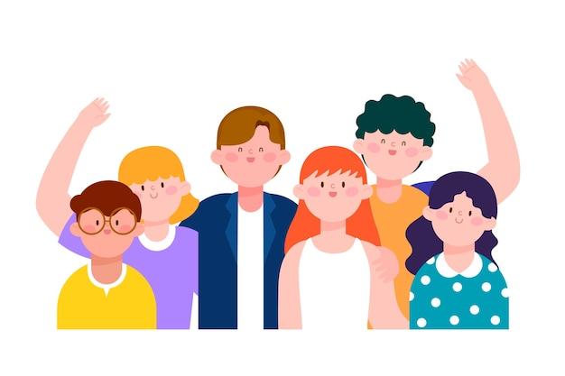 Illustrazione con un gruppo di persone Vettore gratuito