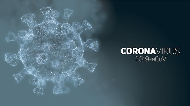 Illustrazione concettuale di coronavirus. modulo del virus 3d su una priorità bassa astratta. visualizzazione di agenti patogeni. Vettore gratuito