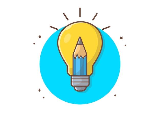 Illustrazione creativa dell'icona di vettore di idea. lampadina e matita, concetto dell'icona di affari Vettore Premium
