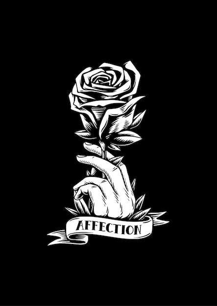Illustrazione creativa di affetto e rosa rossa Vettore Premium