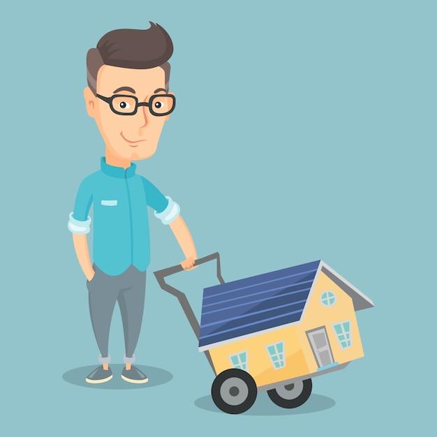 Illustrazione d'acquisto sorridente di vettore della casa dell'uomo adulto Vettore Premium