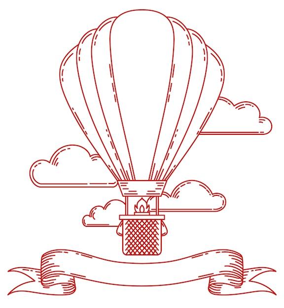 Illustrazione d'annata dell'aerostato di aria di steampunk Vettore Premium