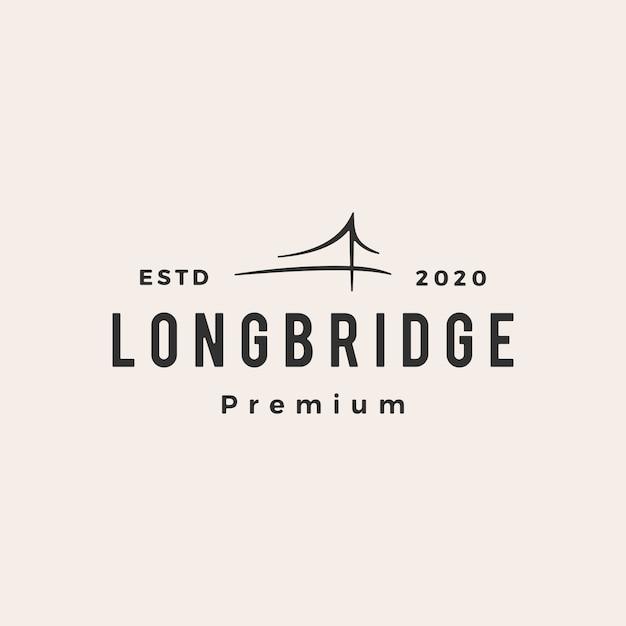 Illustrazione d'annata dell'icona di logo dei pantaloni a vita bassa del ponte Vettore Premium
