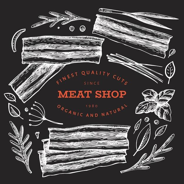 Illustrazione d'annata della carne di vettore sul bordo di gesso. Vettore Premium