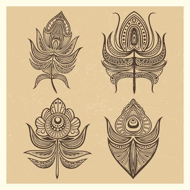 Illustrazione d'annata di vettore delle piume di stile della mandala Vettore Premium