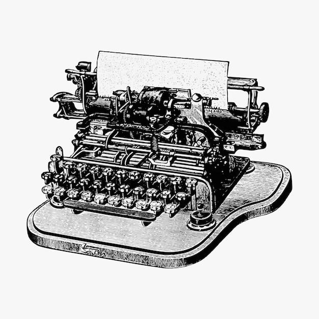 Illustrazione d'epoca della macchina da scrivere Vettore gratuito