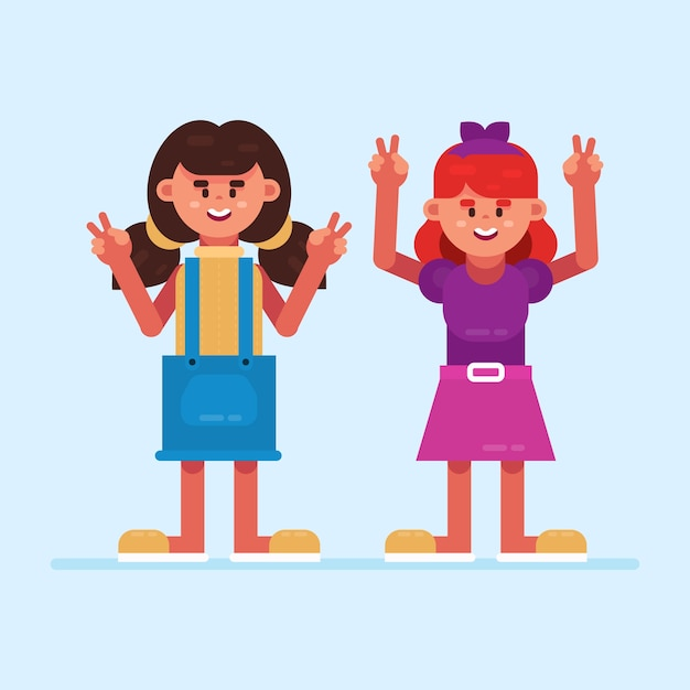 Illustrazione d'ondeggiamento della mano delle ragazze Vettore gratuito