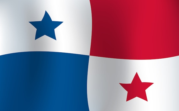Illustrazione d'ondeggiamento di vettore di colore del fondo della bandiera di panama Vettore Premium