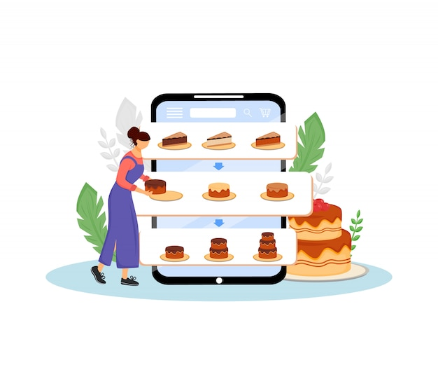 Illustrazione d'ordine di concetto delle torte online. cuoco femminile, pasticcere personaggio dei cartoni animati per il web. ordine creativo di prodotti da forno dolci e consegna internet Vettore Premium
