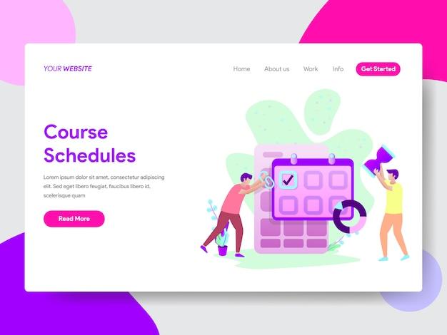 Illustrazione degli orari dei corsi degli studenti per le pagine web Vettore Premium
