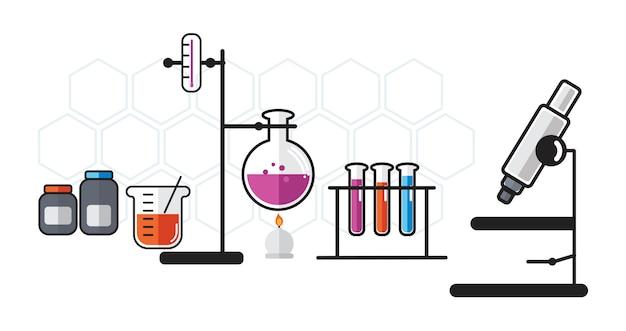 Illustrazione degli strumenti del laboratorio di chimica messi Vettore gratuito