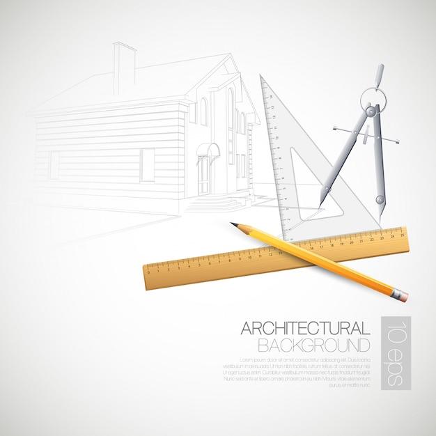 Illustrazione degli strumenti di disegno architettonici della casa Vettore Premium