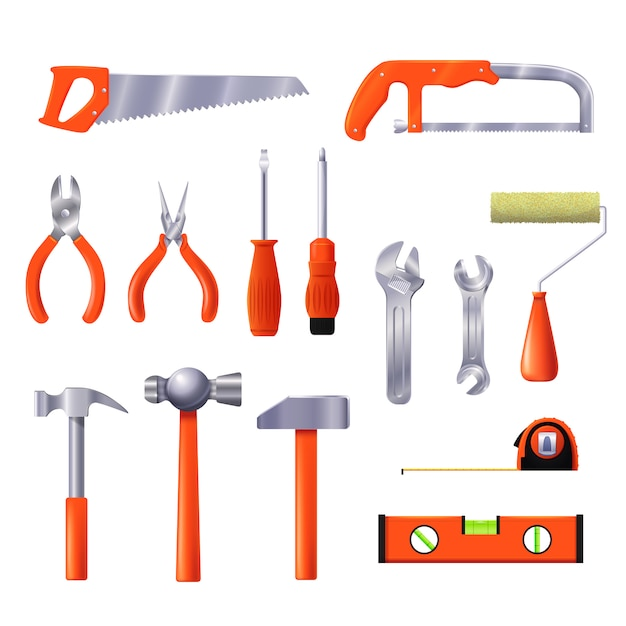 Illustrazione degli strumenti di riparazione della casa. strumento per la costruzione e il rinnovamento dell'interior design isolato. Vettore Premium