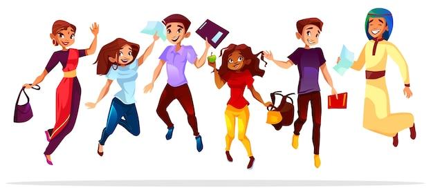Illustrazione degli studenti universitari o dell'istituto universitario di diverse nazionalità dei compagni di classe che saltano in su. Vettore gratuito