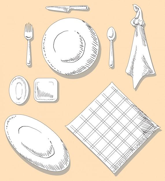 Illustrazione degli utensili della cucina dell\'insieme di cena ...