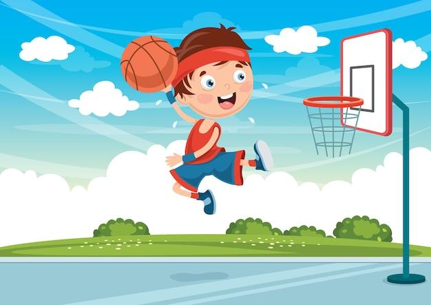 Illustrazione Dei Bambini Che Giocano A Basket Scaricare Vettori