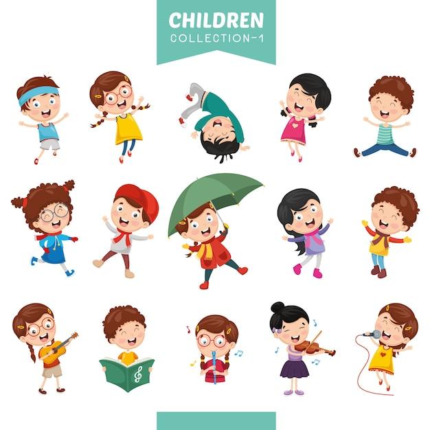 Illustrazione dei bambini dei cartoni animati Vettore Premium