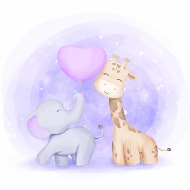 Illustrazione dei bambini della giraffa e dell'elefante di amicizia Vettore Premium