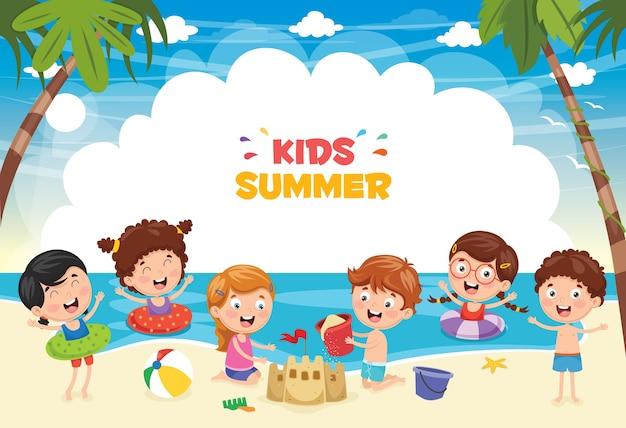 Illustrazione dei bambini di estate Vettore Premium