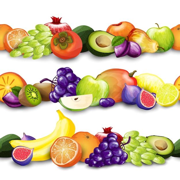 Illustrazione dei bordi di frutti Vettore gratuito