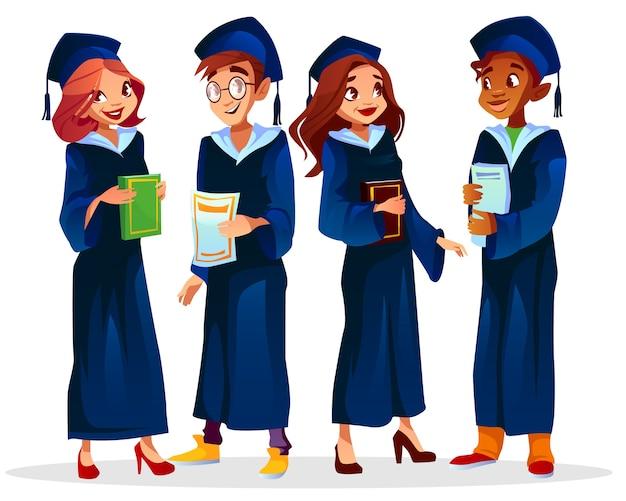 Illustrazione dei laureati o dei laureati del ragazzo afroamericano negli studenti delle ragazze e dei vetri Vettore gratuito