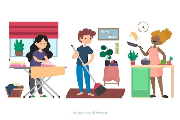 Illustrazione dei migliori amici che fanno i lavori domestici insieme Vettore gratuito