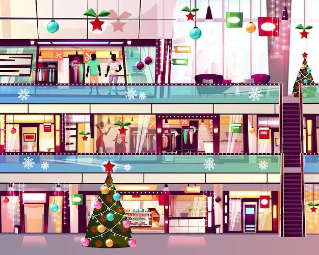 Illustrazione dei negozi del centro commerciale di natale dei boutique e dell'albero di natale alla scala della scala mobile. Vettore gratuito