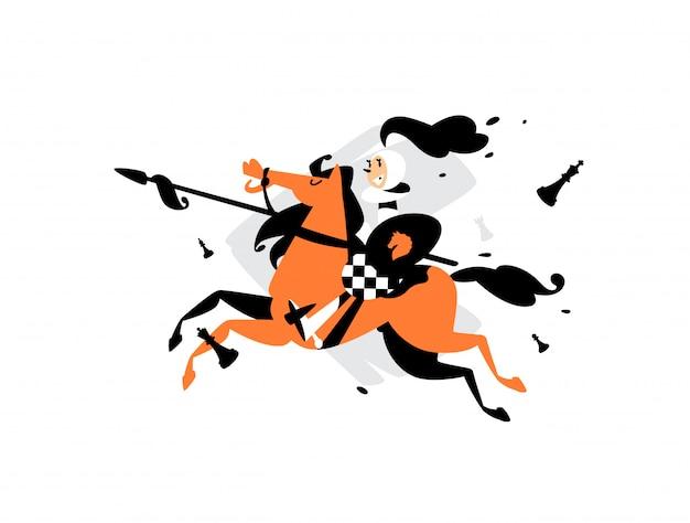 Illustrazione dei pegni a cavallo con una lancia. Vettore Premium