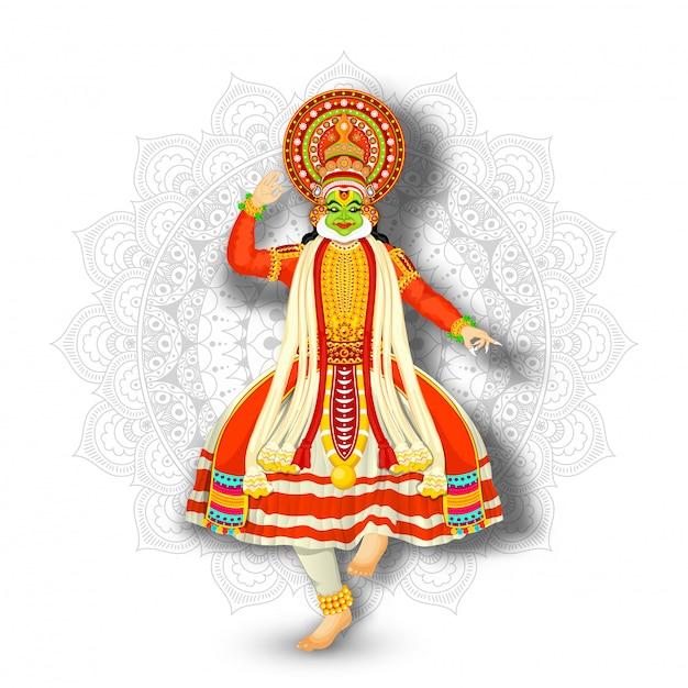 Illustrazione del ballerino di kathakali che esegue sul fondo bianco del modello della mandala. Vettore Premium
