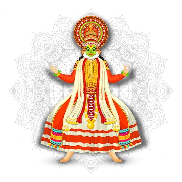 Illustrazione del ballerino di kathakali sul fondo bianco del modello della mandala. Vettore Premium