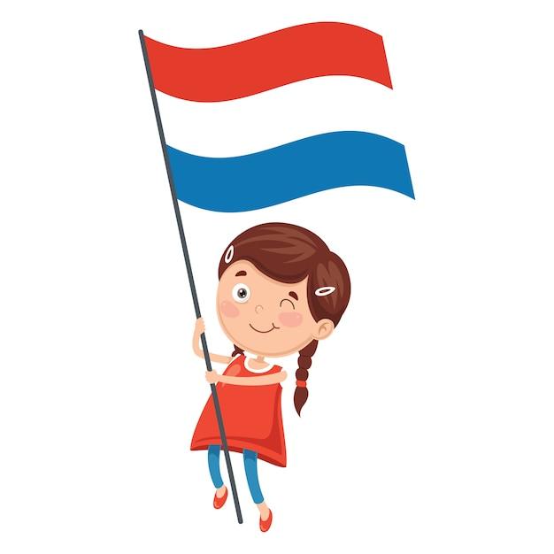 Illustrazione del bambino che tiene la bandiera di netherland Vettore Premium