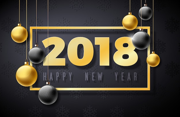 Illustrazione del buon anno 2018 con il numero dell'oro e palla ornamentale su fondo nero Vettore Premium