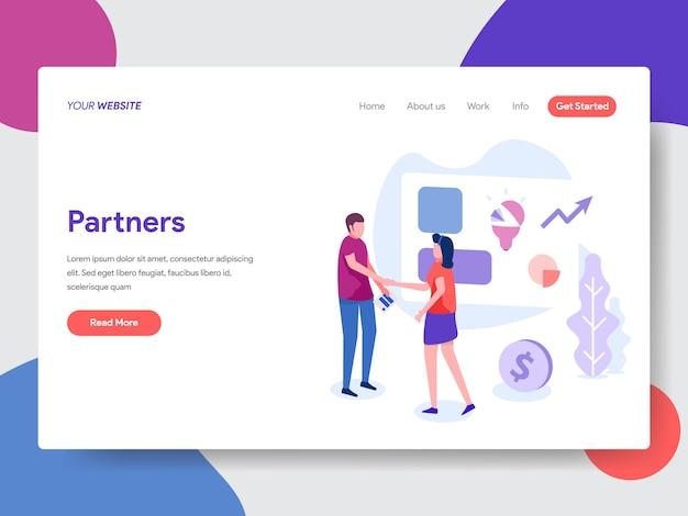 Illustrazione del business partner per la homepage Vettore Premium