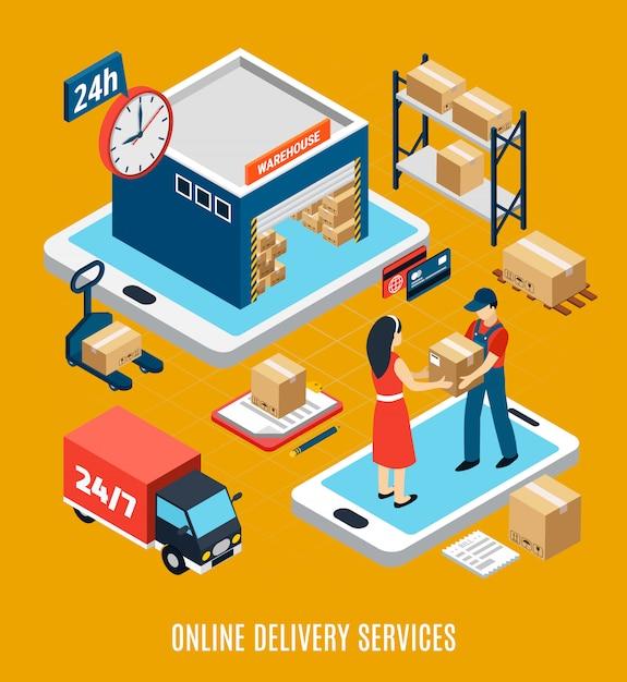 Illustrazione del camion e del magazzino 3d del lavoratore di servizio di consegna online di 24 ore Vettore gratuito