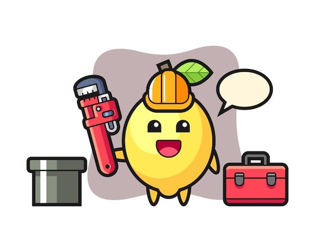 Illustrazione del carattere del limone come idraulico Vettore Premium