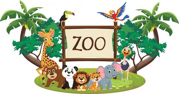 Illustrazione del cartone animato animale zoo divertente Vettore Premium