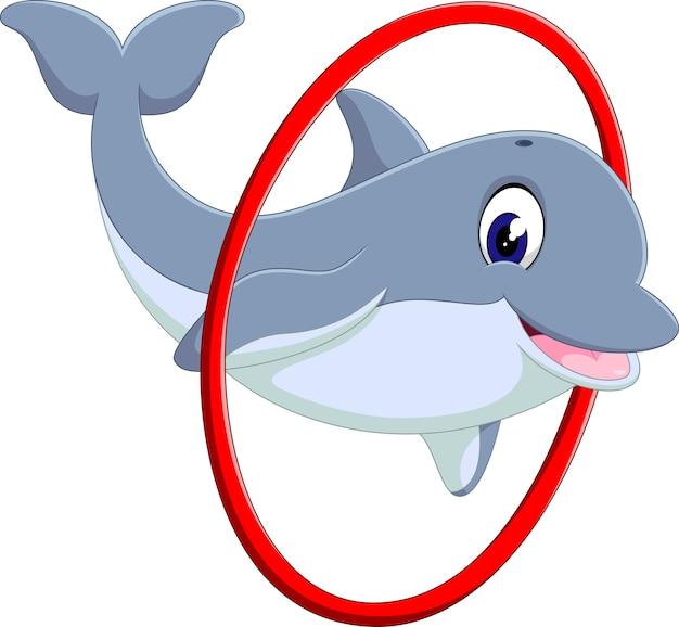 Illustrazione del cartone animato carino delfino Vettore Premium