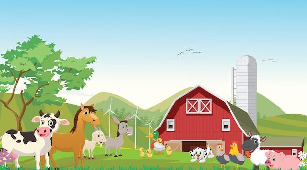 Illustrazione del cartone animato di fattoria felice scaricare