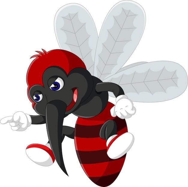 Illustrazione del cartone animato di zanzara arrabbiato