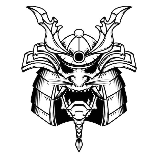 Illustrazione del casco del samurai su fondo bianco. elemento per logo, etichetta, emblema, segno. illustrazione Vettore Premium