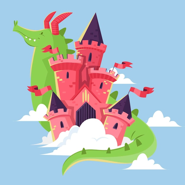Illustrazione del castello da favola con il drago Vettore gratuito