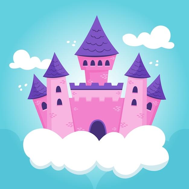Illustrazione del castello delle fiabe in nuvole Vettore gratuito