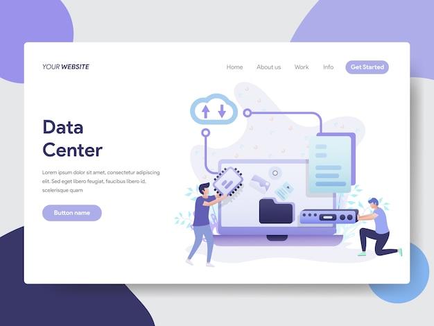Illustrazione del centro dati per la pagina del sito web Vettore Premium