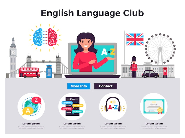 Illustrazione del club di lingua inglese Vettore gratuito